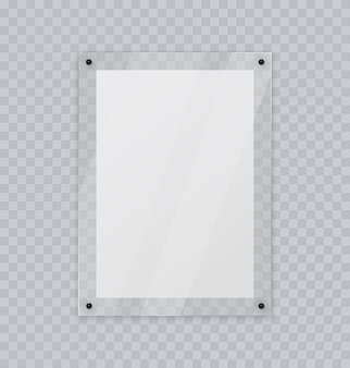 Cadre en verre acrylique photo en plastique ou cadre d'affiche maquette réaliste isolée sur mur transparent