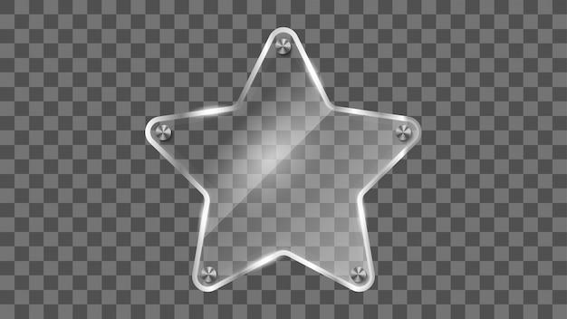 Cadre en verre étoile, bannière en verre réfléchissant.