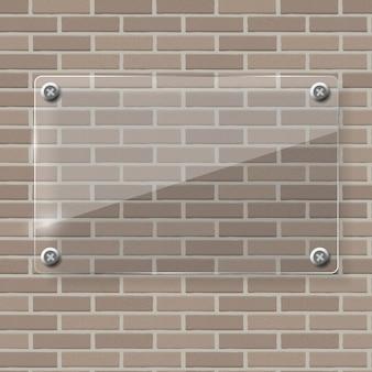 Cadre en verre sur fond d'illustration de mur de brique