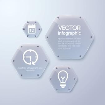 Cadre en verre propre, forme hexagonale, modèle d'entreprise infographique