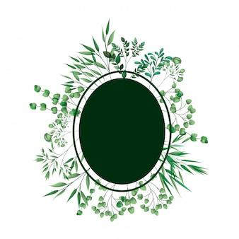Cadre vert avec des branches et des feuilles