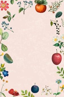 Cadre vide sur le motif floral d'été