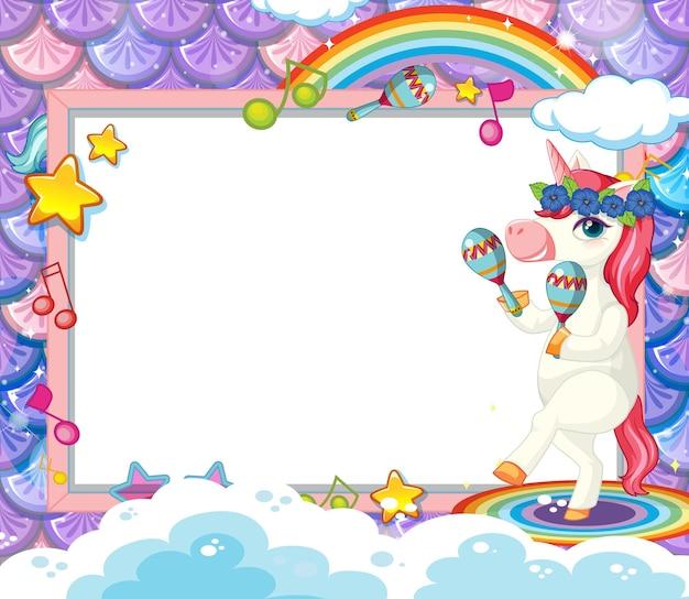 Cadre vide avec un personnage de dessin animé mignon de licorne