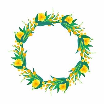 Cadre vide rond avec des fleurs jaunes printanières et des feuilles vertes