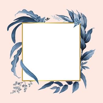 Cadre vide avec vecteur de conception de feuilles bleues
