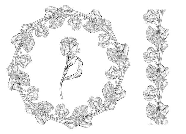 Cadre vierge fait de tulipes roses stylisées. couronne florale pour la conception romantique, invitations de mariage, publicité