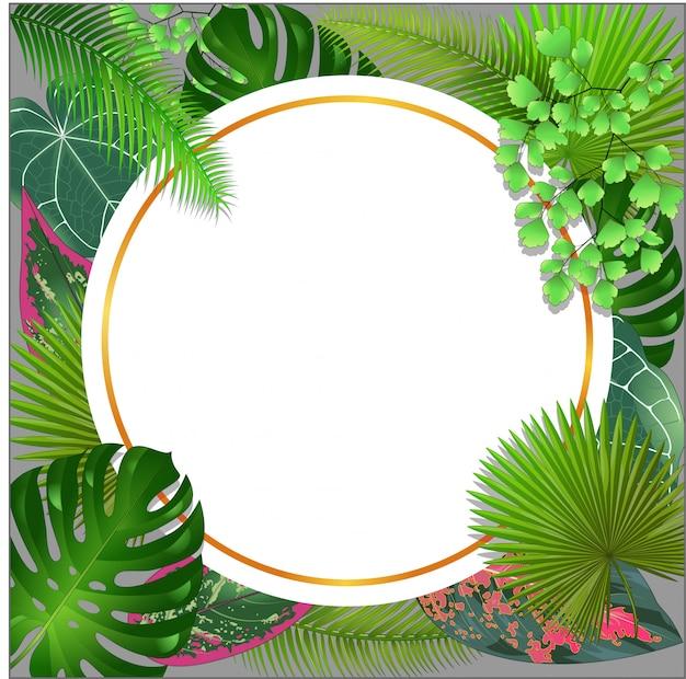 Cadre vierge avec fond de feuilles de nature