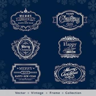 Cadre vintage argenté de noël et du nouvel an sur fond bleu foncé