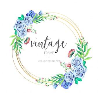 Cadre vintage avec des fleurs bleues