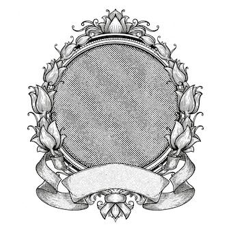 Cadre vintage blanc héraldique