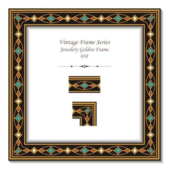 Cadre vintage de cadre doré de bijoux colorés
