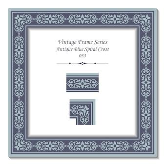 Cadre vintage de croix en spirale bleue antique
