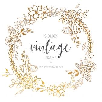 Cadre vintage doré avec des fleurs