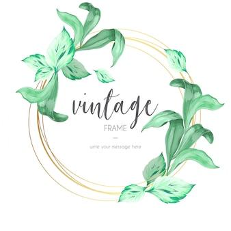 Cadre vintage avec feuilles ornementales