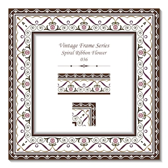 Cadre vintage de fleur de ruban croix spirale jardin