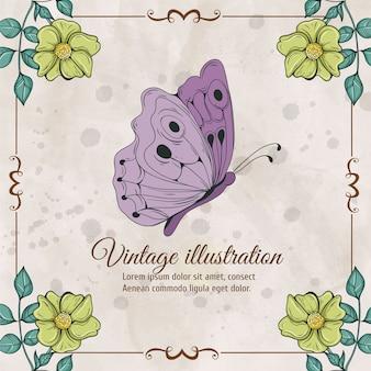Cadre vintage avec fleurs et papillon