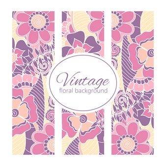 Cadre vintage avec des fleurs zentangle