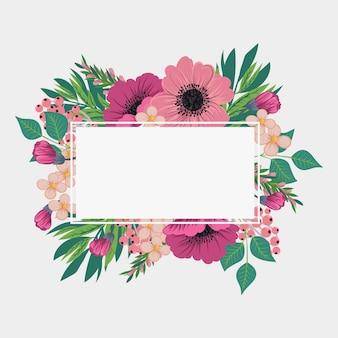 Cadre vintage avec des fleurs