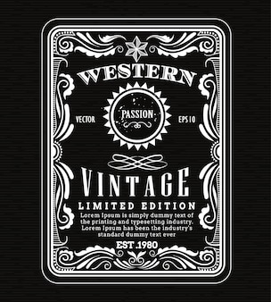 Cadre vintage frontière étiquette occidentale rétro cadre dessiné à la main