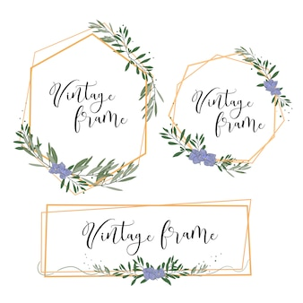 Cadre vintage en or avec feuilles et fleurs pour faire-part de mariage, carte, etc.