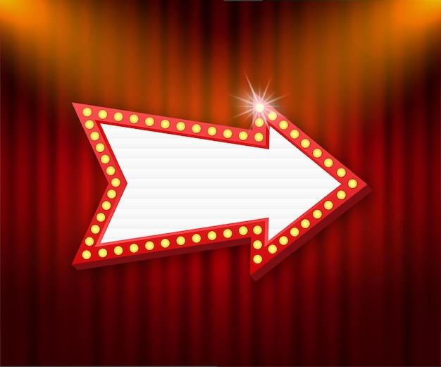 Cadre vintage de panneau d'affichage rétro lightbox. lightbox avec un design personnalisable. bannière classique pour vos projets ou publicité.