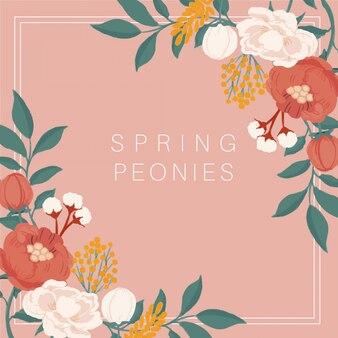 Cadre vintage de pivoines de printemps dessinés à la main