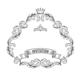 Cadre vintage avec un ruban et une couronne.