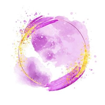 Cadre violet aquarelle abstrait