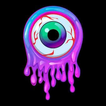 Cadre violet slime et icône des yeux avec la fête d'halloween.