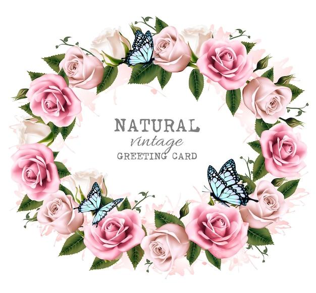 Cadre de voeux vintage naturel avec des roses. vecteur.
