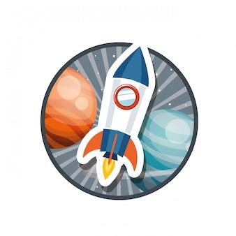 Cadre avec le vol de fusée et les planètes du système solaire