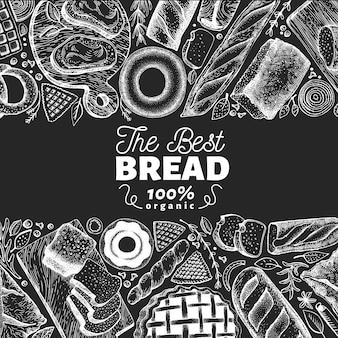 Cadre de vue de boulangerie. main dessinée illustration vectorielle avec du pain et des pâtisseries à bord de la craie.