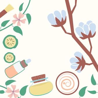 Cadre vue de dessus cosmétiques naturels crème de coton huile essentielle cadre décoratif végétal