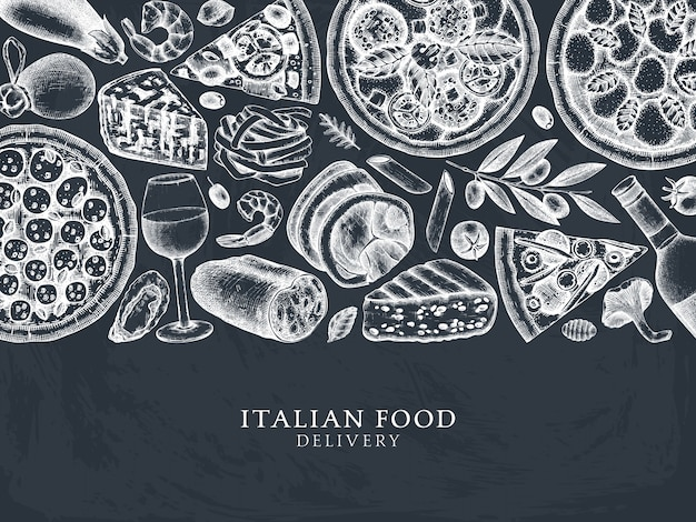 Cadre de vue de dessus de pizza, pâtes, raviolis et ingrédients dessinés à la main. menu de la cuisine italienne et des boissons sur tableau noir. modèle d. croquis vintage de cuisine italienne pour la livraison de nourriture, pizzeria