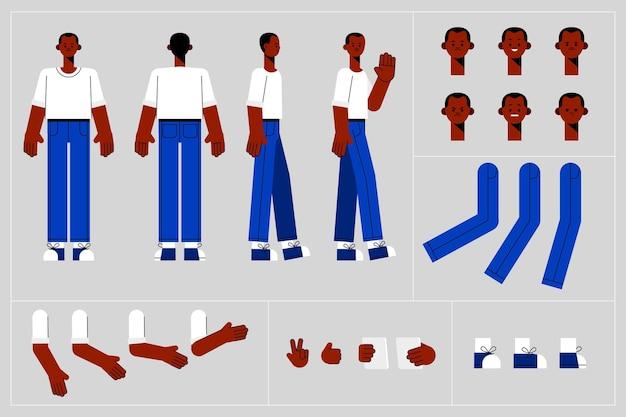 Cadres d'animation de personnage design plat
