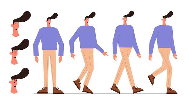 Cadres d'animation de personnages plats