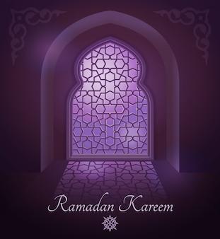 Cadres arabes sur la porte islamique traditionnelle et fenêtre avec ornement.