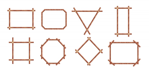 Cadres en bambou. bannières de bâton de bois de différentes formes. cadre de signe de bambou rustique japonais.