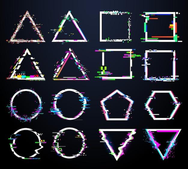 Cadres blancs glitch. formes circulaires, carrées, triangulaires et polygonales déformées. figures géométriques abstraites de distorsion de télévision avec défaut de bruit numérique. crash logo icône illustration vectorielle