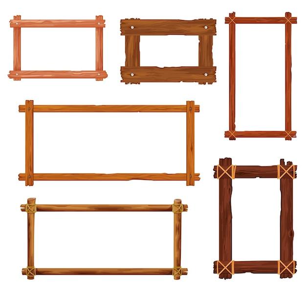 Cadres et bordures en bois de dessin animé. planches de bois, vieilles planches et panneaux bruns