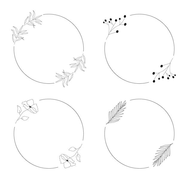 Cadres botaniques ronds dessinés à la main avec des feuilles.