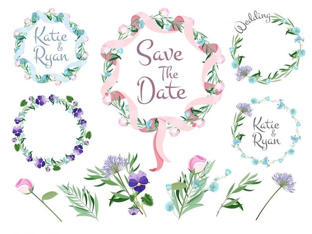 Cadres de branches florales. couronne de fleurs rubans coeurs mignon ensemble pour les cartes d'invitation de voeux