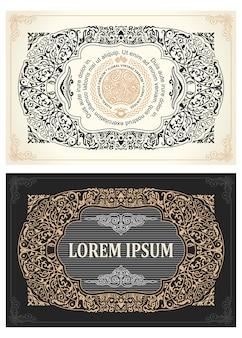 Cadres calligraphiques de cartes rétro vintage