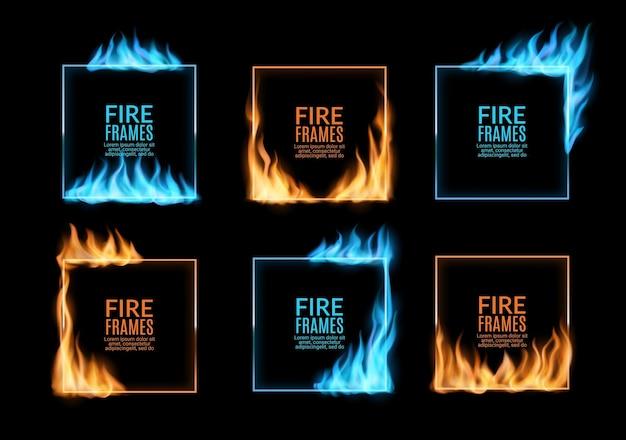 Cadres carrés, bordures de flammes de feu et de gaz