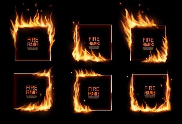 Cadres carrés en feu, frontières brûlantes. langues de flamme brûlantes réalistes avec des particules volantes et des braises sur les bords du cadre rectangulaire. éclat 3d. cerceaux brûlés ou trous dans le feu, jeu de frontières