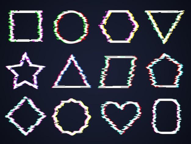 Cadres carrés glitch. brouillage endommagé le bruit cyber formes formes rectangulaires brisées effets de distorsion à la mode