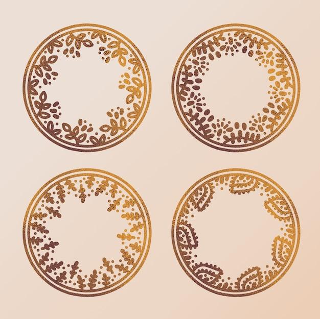 Cadres de cercle en or dessinés à la main
