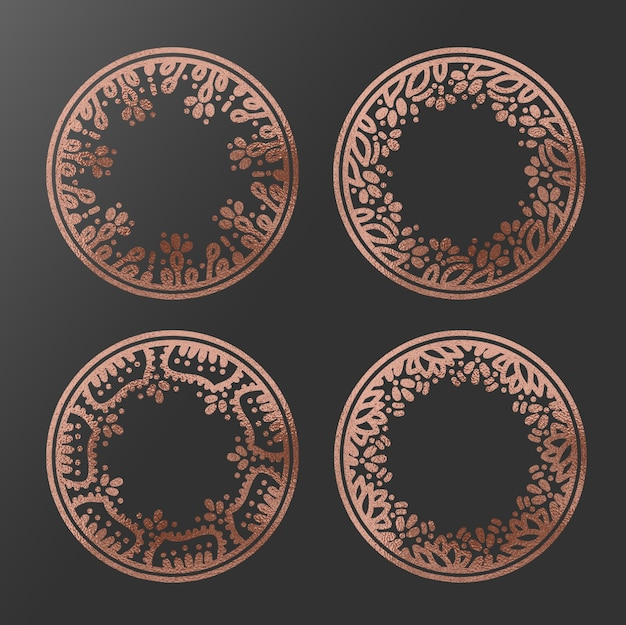 Cadres de cercle en or rose dessinés à la main