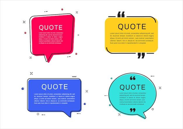 Cadres de citation ensemble de bulles de texte de citation
