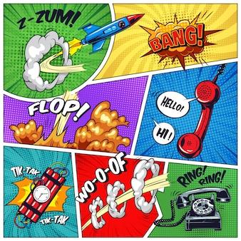 Cadres colorés pop art avec des objets